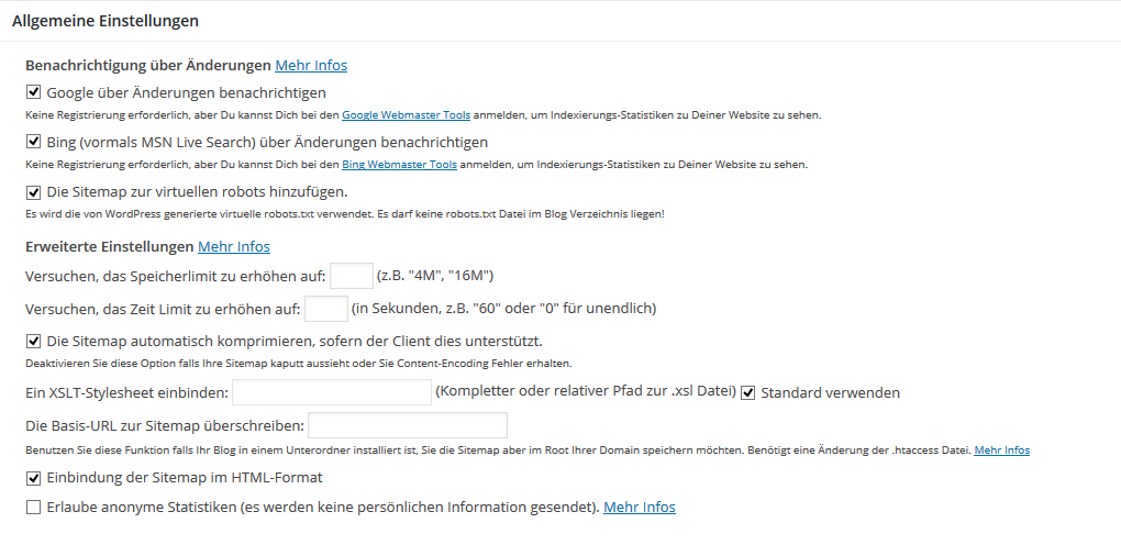 XML Sitemap Plugin - Einstellungen (c) SMART LEMON GmbH & Co. KG