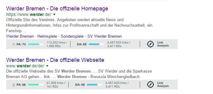 Screenshot Suchanfrage Vorzug SSL - exemplarisch Werder Bremen