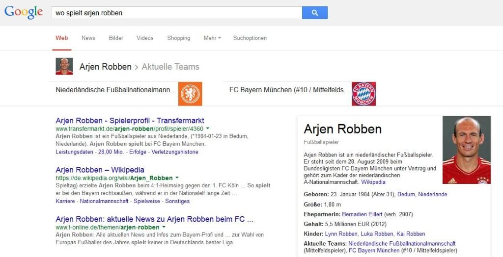 Screenshot Suchanfrage wo spielt spielername - exemplarisch arjen robben