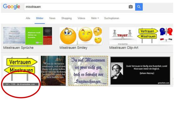 Screenshot Vertrauen Bildersuche (c) smartlemon.de