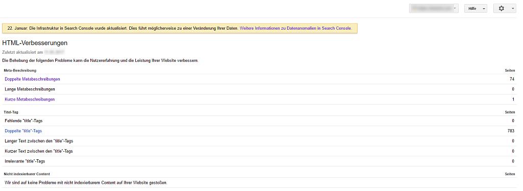 Screenshot GSC Report HTML-Verbesserungen
