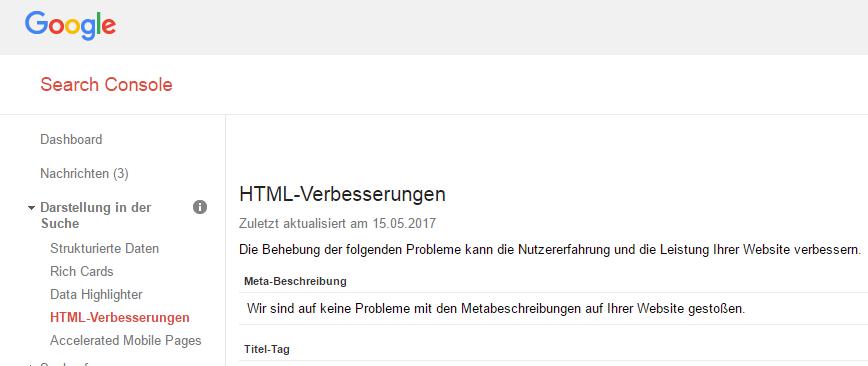 Google Search Console ->Darstellung in der Suche -> HTML-Verbesserungen