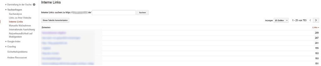 Google Search Console Report - Screenshot Report Interne Links
