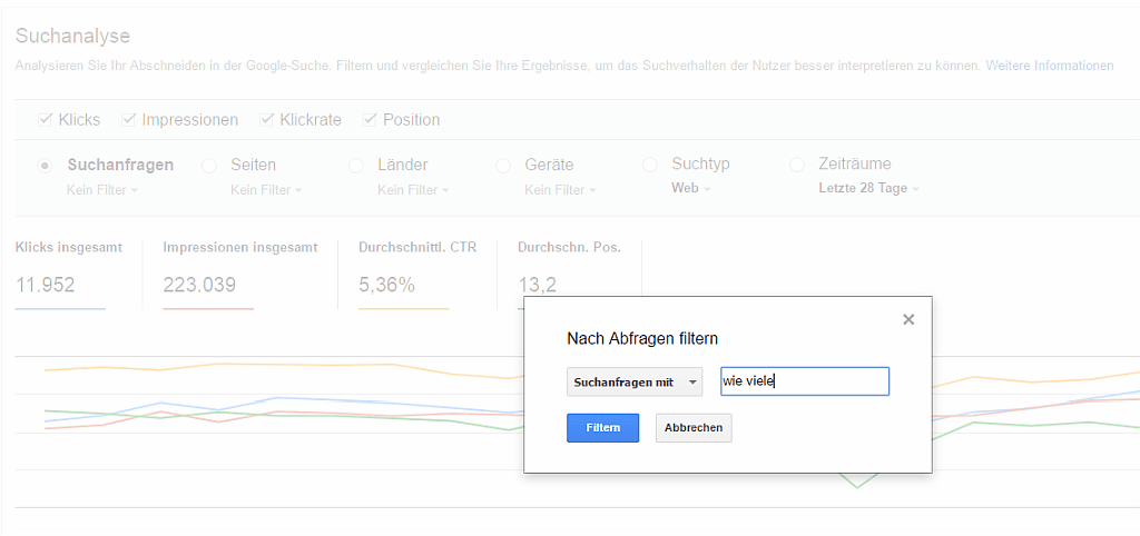 Google Search Console Report - Screenshot Report Suchanalyse - Fragen finden - Suchanfragen-Filter