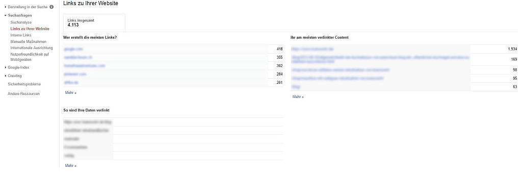 Google Search Console Report - Screenshot Report externe Links
