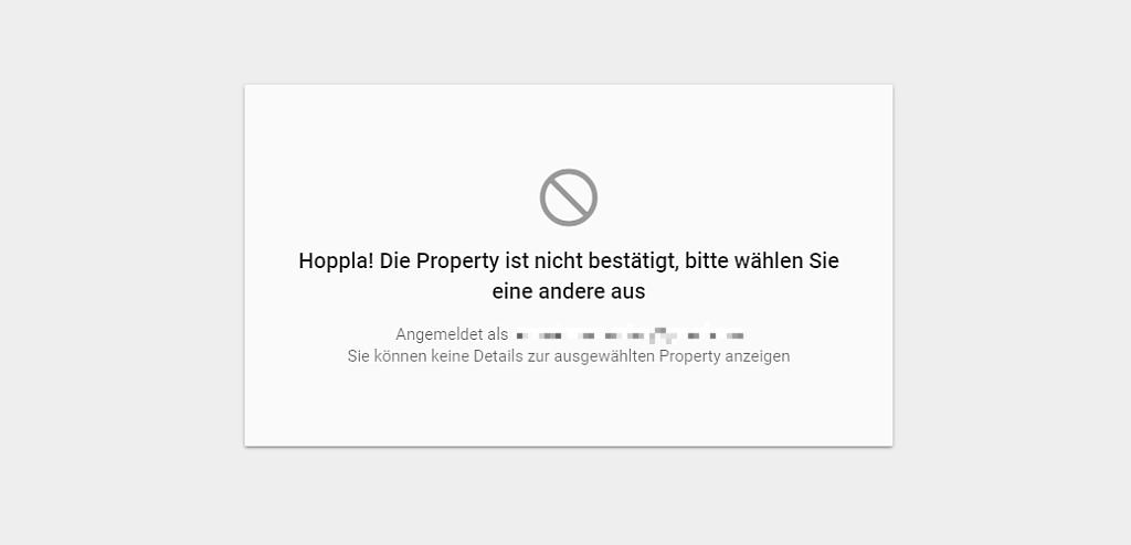 Screenshot: Fehlermeldung GSC - Link zum geteilten Fehlerreport funktioniert nicht - Beta-Version Januar 2018 Google Search Console