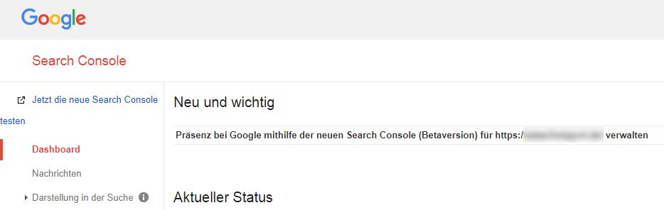 Screenshot Google Search Console mit Link zur neuen Beta-Version aus dem alten Dashboard heraus.