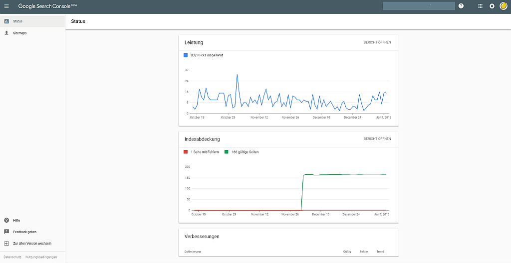 Screenshot: Dashboard der neuen Google Search Console mit Statusberichten