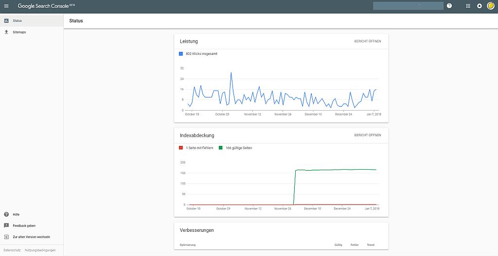 Screenshot: Dashboard der neuen Google Search Console mit Statusberichten