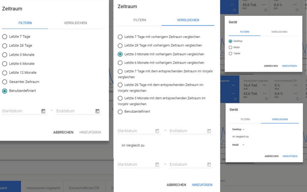Screenshots der am 12. Januar 2018 neu hinzugefügten Filter- und Vergleichsoptionen in der neuen Google Search Console.
