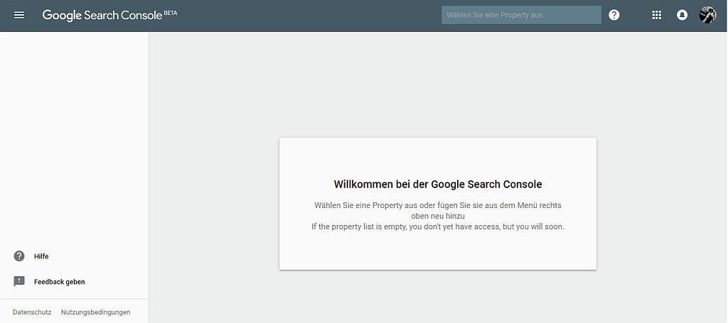Screenshot: Test, ob Beta-Zugang zu neuen Search Console vorhanden ist: https://search.google.com/search-console