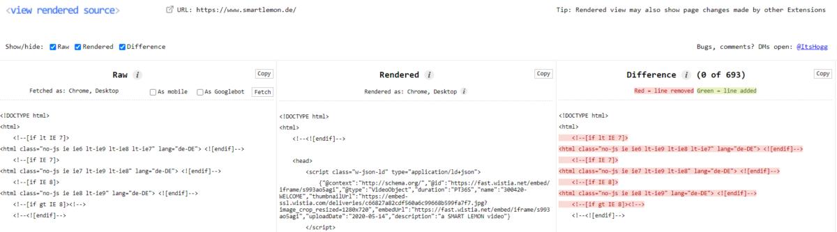Die besten SEO Browser Plug-Ins View Rendered Source