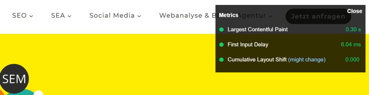 Die besten SEO Browser Plug-Ins Web Vitals Display Overlay