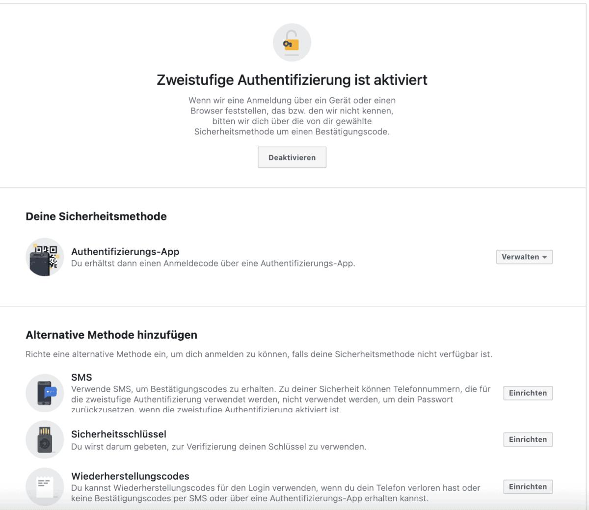 zweistufige authentifizierung facebook business manager